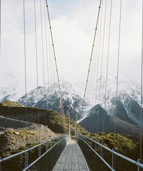 nature, mountains, and bridge image