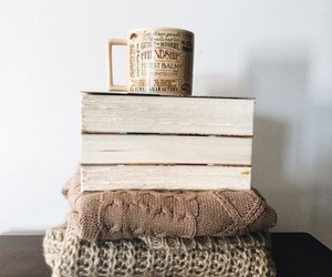 book, coffee, and sweater image