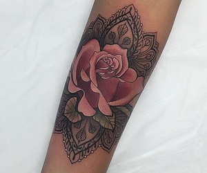tattoo, mandala, and rose image