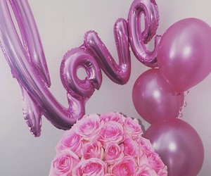 balloons, couple, and flowers image