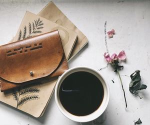 coffee, books, and flowers image