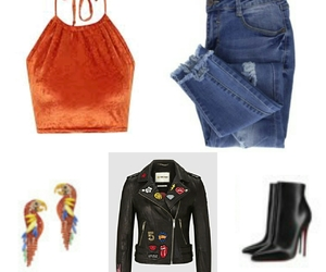 clothes, jeans, and leather image