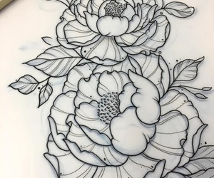 peonies, tattoo, and flowers image