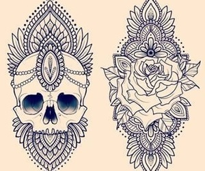 tattoo, mandala, and flowers image