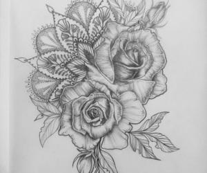 flower, mandala, and rose image