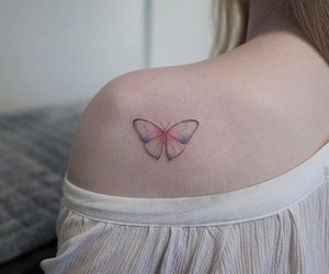 butterfly, shoulder, and girl image