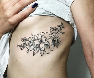 flowers, girl, and ribs image