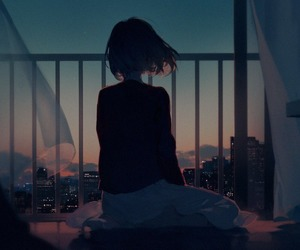 anime, art, and balcony image