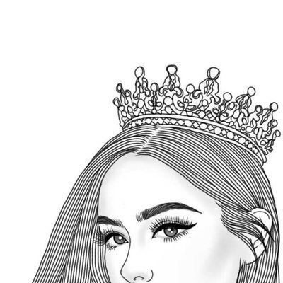 Queen, crown, and outline image