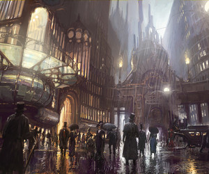 steampunk and city image