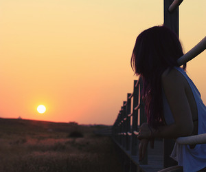 girl, sunset, and sun image