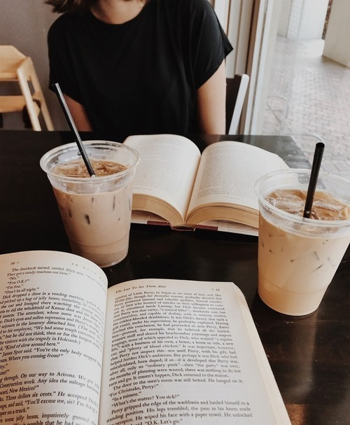 book, coffee, and drinks image