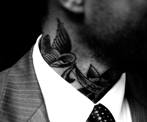 tattoo, man, and black and white image