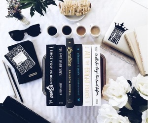 books, flowers, and black and white image