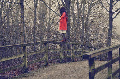 girl, red, and bridge image