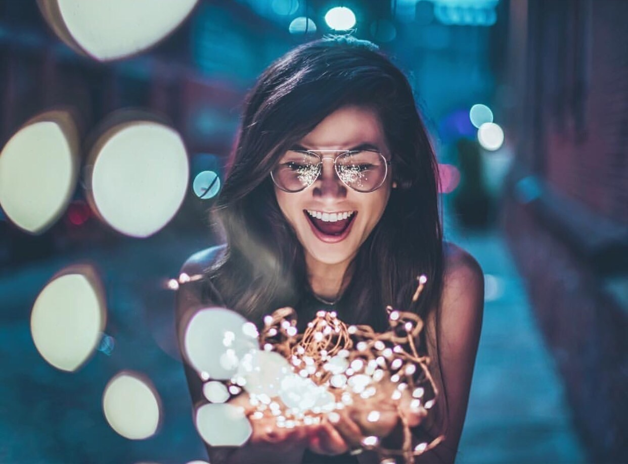 aesthetic, fairy lights, and we heart it image