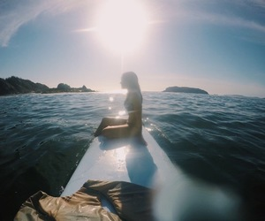 blue, ocean, and paddle board image