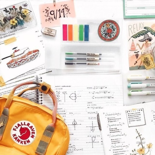school, backpack, and journal image