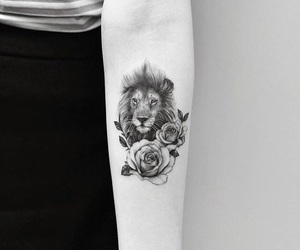 tattoo, lion, and flowers image