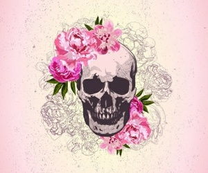 wallpaper, skull, and flowers image