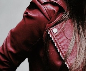 red, aesthetic, and jacket image