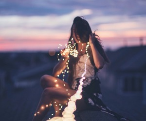 light, girl, and photography image