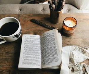 book, coffee, and photo image