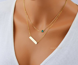 bar, necklace set, and birthstone necklace image
