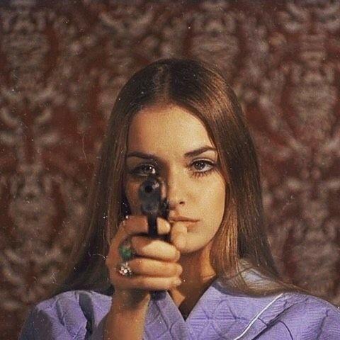 girl, gun, and vintage image