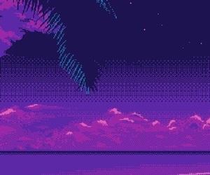 beach, pixel, and purple image