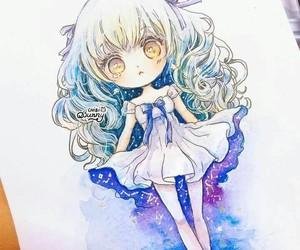 anime girl, chibi, and draw image