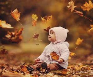 autumn, baby, and leaves image