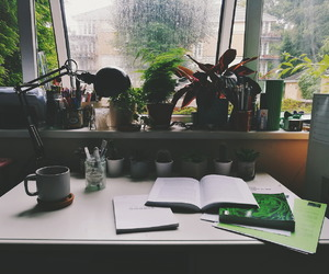 college, desk, and home image