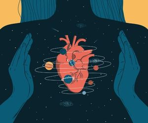 heart, universe, and illustration image