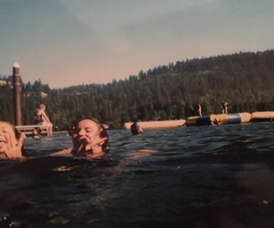 camp, girls, and lake image