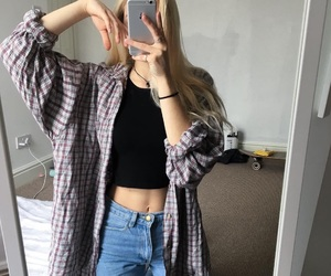 fall, flannel, and site model girls image
