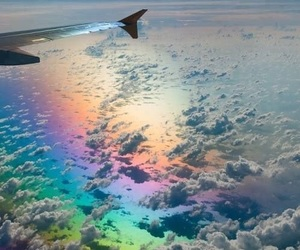 cloud, fly, and rainbow image