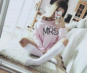 girl, mrs, and pink image