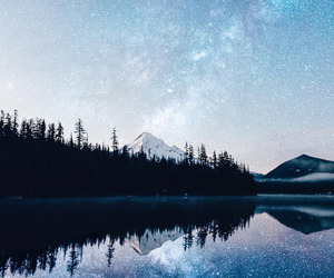stars, lake, and nature image