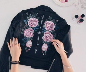 fashion, flowers, and leather jacket image