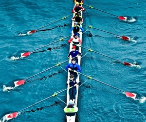 blue, turquoise, and rowing image
