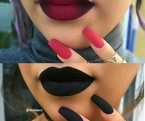 black lipstick, rings, and black nails image
