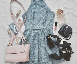 blue, cream, and outfit image