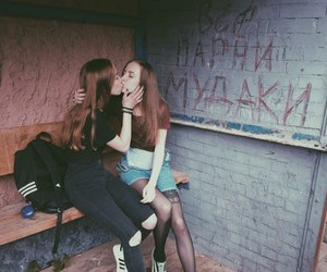 girls, kiss, and lesbian image