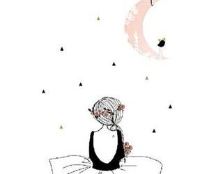 girl, moon, and illustration image