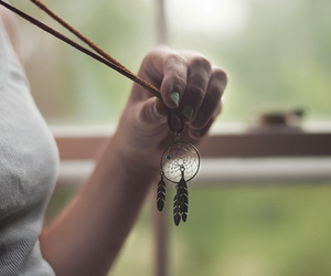 girl, dreamcatcher, and necklace image