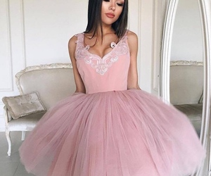 dress, makeup, and pink image