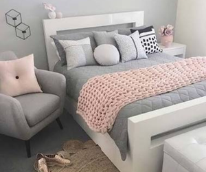 bedroom, grey, and pink image