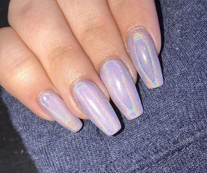 nails, holographic, and tattoo image
