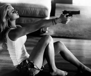 girl, gun, and black and white image